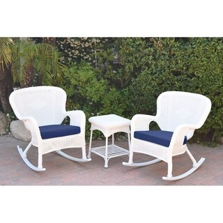 Windsor White Wicker Rocker Chair And End Table Set with Chair Cushion