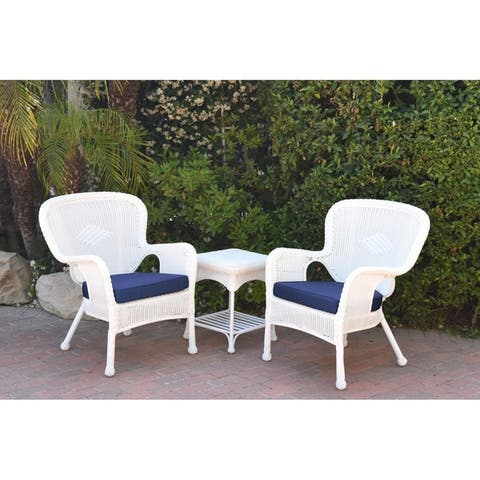 Windsor White Wicker Chair And End Table Set with Cushion