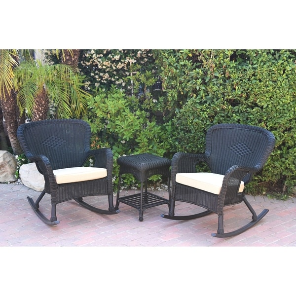 Windsor Black Wicker Rocker Chair And End Table Set With Chair Cushion