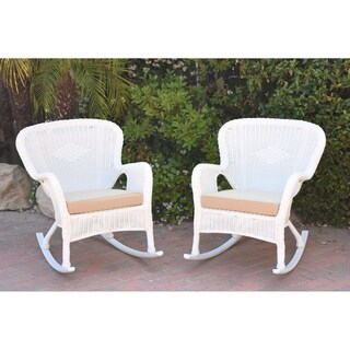 Set of 2 Windsor White Resin Wicker Rocker Chair with Tan Cushions