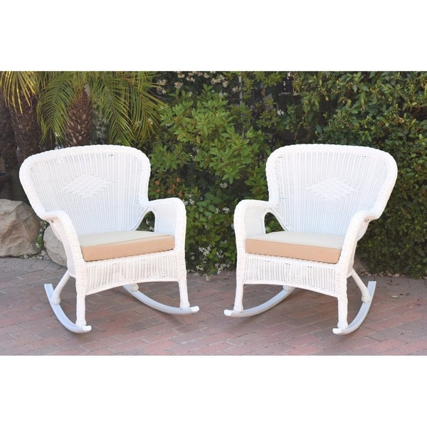 Shop Set Of 2 Windsor White Resin Wicker Rocker Chair With