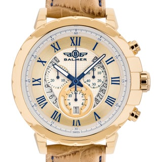 Balmer 'Atalante' Men's Swiss Quartz Chronograph Stainless Steel and Genuine Leather Strap Watch 48mm