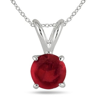 All Natural Genuine 4 Mm Round Ruby Pendant Set In 14k White Gold