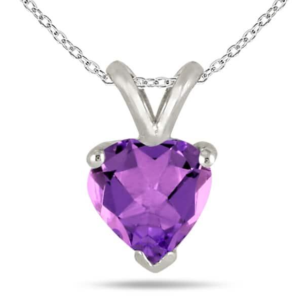 14Kt Gold Amethyst Heart Design Pendant Necklace