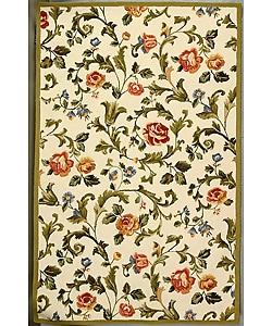 Safavieh Hand-hooked Garden of Eden Ivory Wool Rug (5'3 x 8'3)