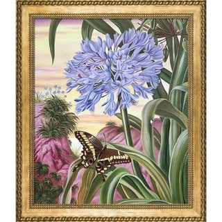 Marianne North 'Blue Lily and Large Butterfly' Hand Painted Oil Reproduction