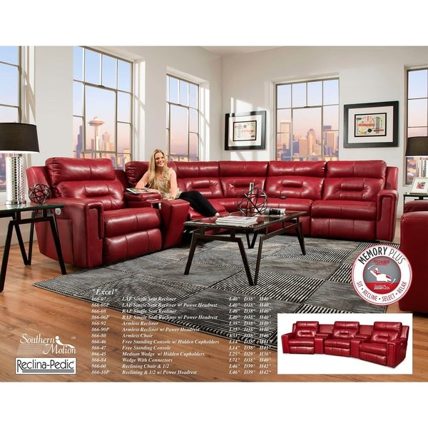 d978a980a8 Southern Motion's Excel Power Reclining Sectional Sofa with Power Headrest