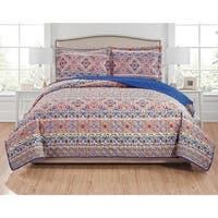 RT Designers Collection Giselle 3-Piece Reversible Quilt Set - orange/royal blue/green/purple/navy/white/brown