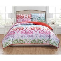RT Designers Collection Milo 3-Piece Reversible Quilt Set - turquoise/red/fuchsia/lime/purple