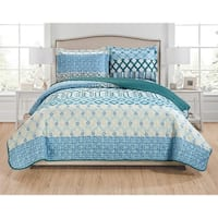 RT Designers Collection Leo 3-Piece Reversible Quilt Set - aqua/blue/navy/teal/hunter/ivory