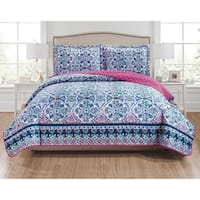 RT Designers Collection Fiona 3-Piece Reversible Quilt Set - navy/blue/white/teal/fuchsia/coral