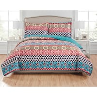 RT Designers Collection Alexis 3-Piece Reversible Quilt Set - navy/turquoise/spice/brown/teal