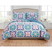 RT Designers Collection Hannah 3-Piece Reversible Quilt Set - purple/teal/navy/green/red