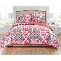 RT Designers Collection Zoey 3-Piece Reversible Quilt Set - coral/turquoise/white
