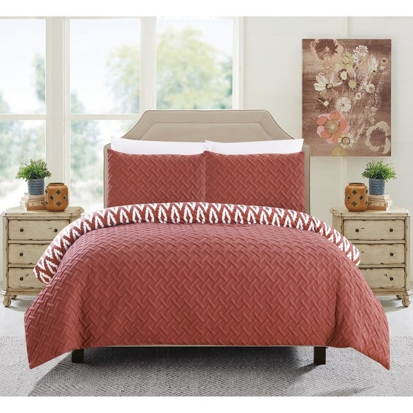 Chic Home Sabina 3 Piece Embroidered Reversible Comforter Set