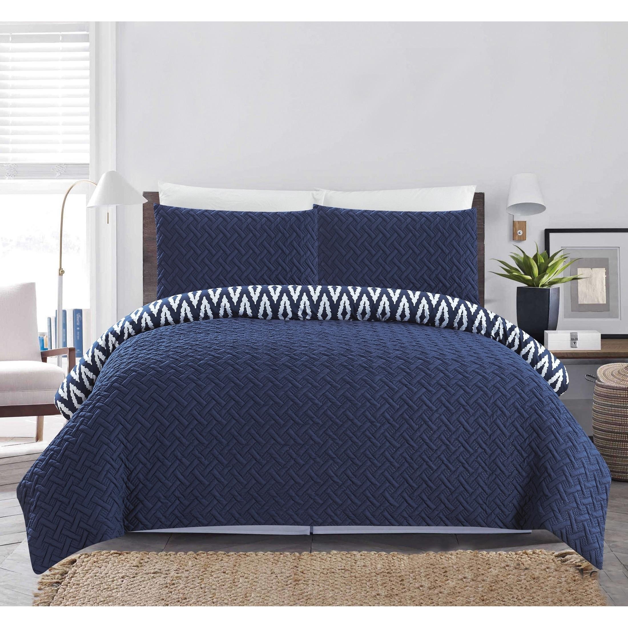 Queen or King Size Comforter Set Bedding Blue Embroidered Elegant Microfiber 7 P