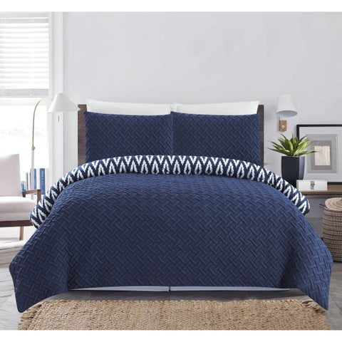Chic Home Sabina 3 Piece and Embroidered Reversible Comforter Set