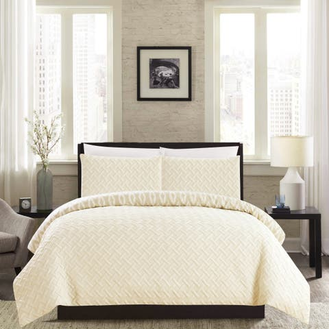 Chic Home Sabina 3 Piece and Embroidered Reversible Comforter Set - Beige