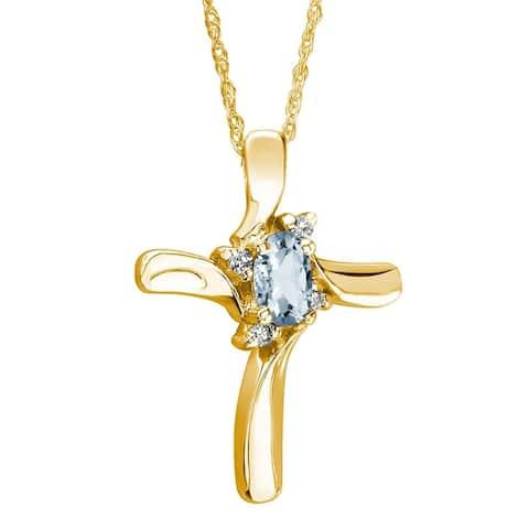 Aquamarine Cross Diamond Pendant 10k Yellow Gold
