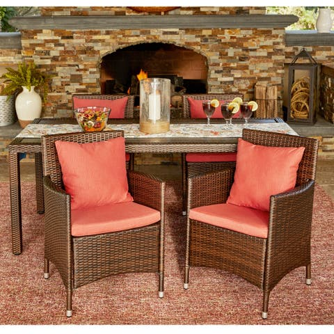Stillwater Indoor/Outdoor Brown Resin Ratan Dining Chair Set with Coral Cushions by Havenside Home