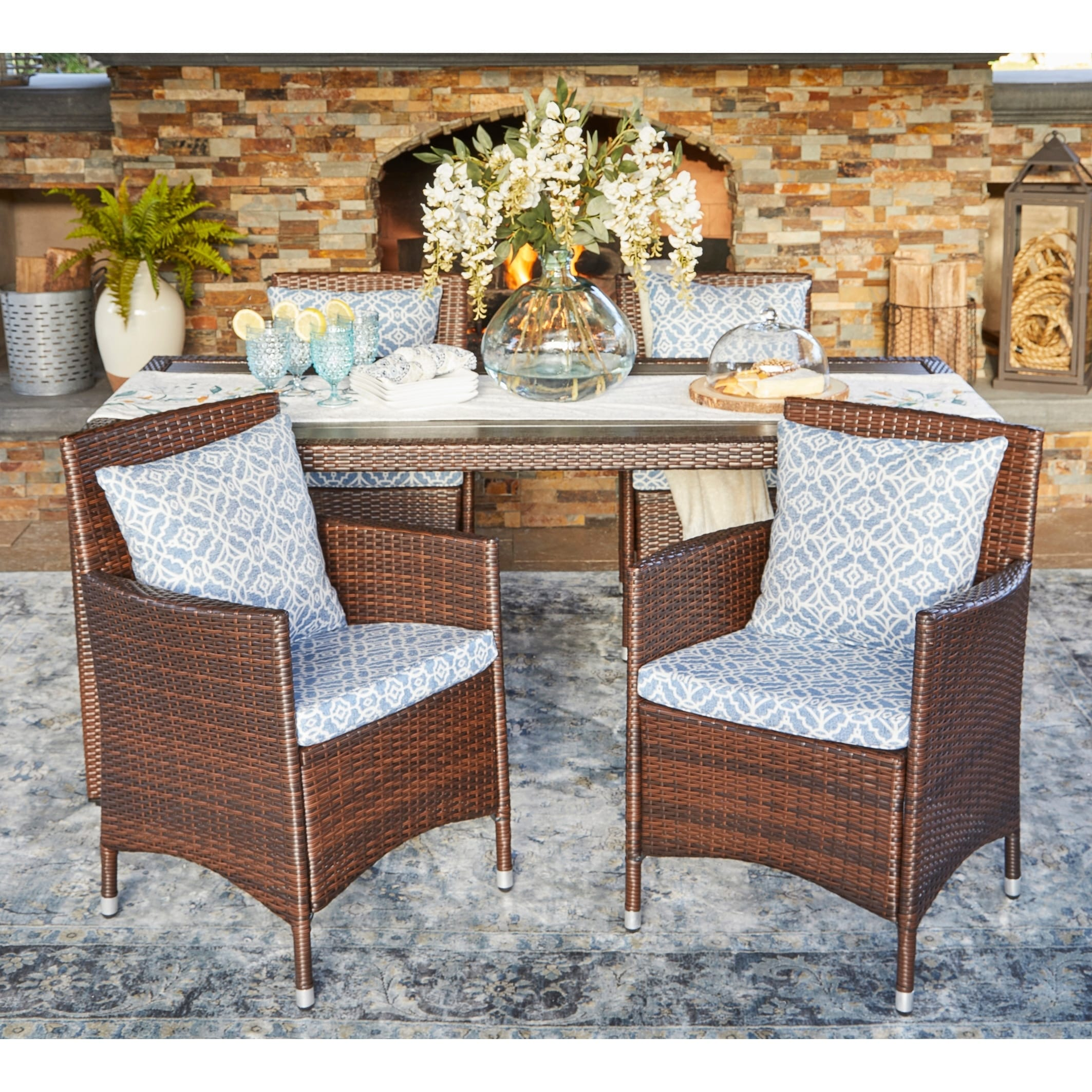 Handy Living Aldrich Indoor Outdoor Brown Resin Rattan Dining Chair Set With Blue Geometric Cushions