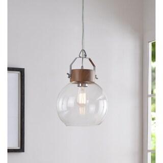 The Gray Barn Jartop Chrome and Wood 1 Light Pendant