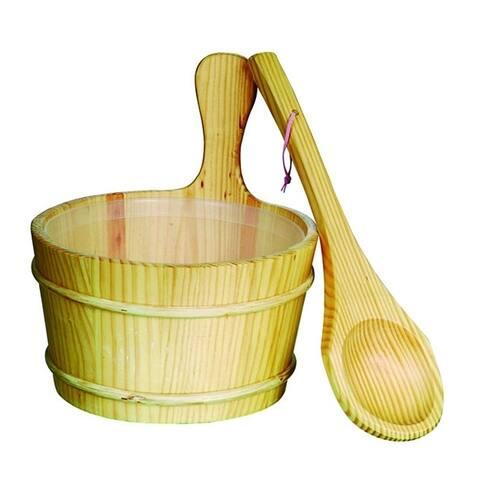 ALEKO Pine Wood Sauna Accessory Bucket with Plastic Liner and Scoop