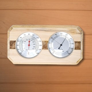 ALEKO Sauna Wall-Mounted Wood Thermometer and Hygrometer