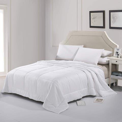 Cheer Collection Luxury Natural Silk Blend Cotton Sateen White Comforter