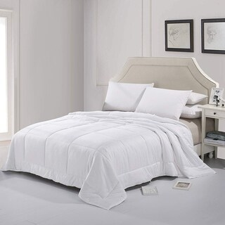 Cheer Collection Luxury Natural Silk Blend 300 TC Cotton Sateen White Comforter