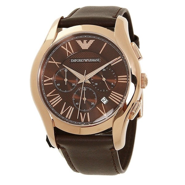 643693b16a6e Shop Emporio Armani Chronograph Brown Dial Brown Leather Strap Mens Watch -  N A - Free Shipping Today - Overstock - 22898815