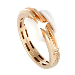 Damiani D.Lace Rose Gold Diamond and White Agate Small Cushion Ring