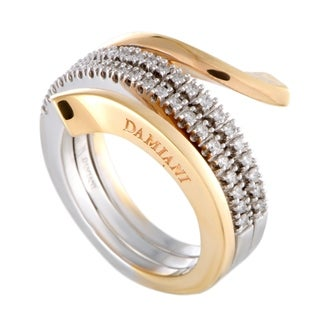 Damiani Eden White and Rose Gold Diamond 3-Coil Spiral Ring