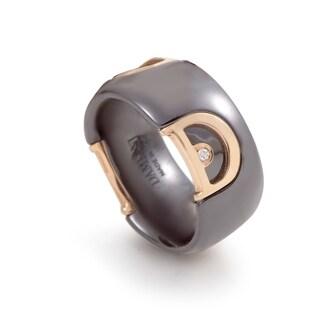 Damiani D.Icon Rose Gold Black Ceramic Diamond Band Ring