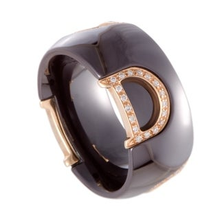 Damiani D.Icon Rose Gold Diamond and Black Ceramic Band Ring