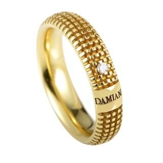 Damiani Metropolitan Yellow Gold Diamond Textured Band Ring