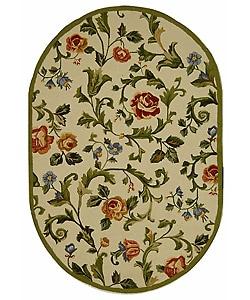 Safavieh Hand-hooked Garden of Eden Ivory Wool Rug (7'6 x 9'6 Oval)