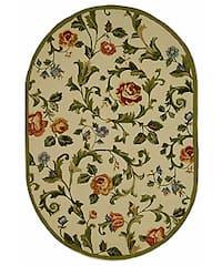 Safavieh Hand-hooked Garden of Eden Ivory Wool Rug (7'6 x 9'6 Oval) - 7'6' x 9'6' oval