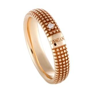 Damiani Metropolitan Rose Gold Diamond Textured Band Ring