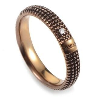 Damiani Metropolitan Rose Gold and Brown Rhodium Diamond Textured Band Ring