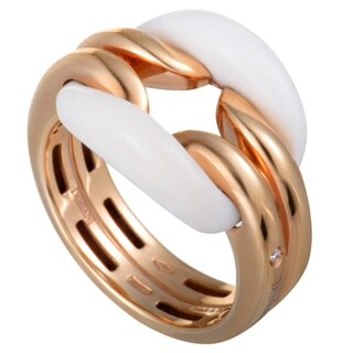 Damiani D.Lace Rose Gold Diamond and White Agate Cushion Ring