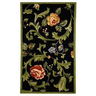 Safavieh Hand-hooked Garden of Eden Black Wool Runner (2'6 x 4')