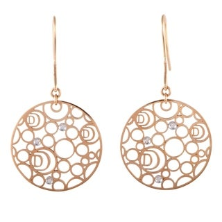 Damiani Damianissima Rose Gold Diamond Openwork Disk French Wire Earrings