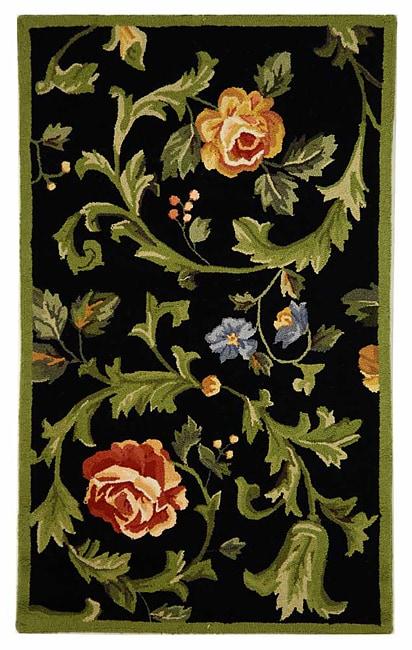 Safavieh Hand-hooked Garden of Eden Black Wool Rug (2'9 x 4'9)