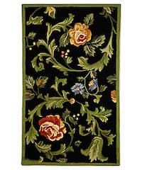 Safavieh Hand-hooked Garden of Eden Black Wool Rug - 2'9 x 4'9