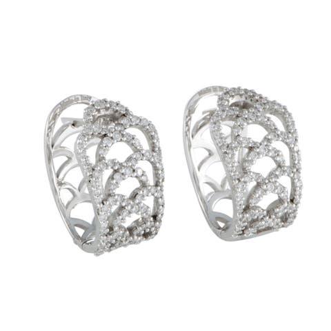 Damiani White Gold Diamond Lace Huggie Earrings
