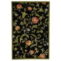 """Safavieh Hand-hooked Garden of Eden Black Wool Rug - 3'9"""" x 5'9"""""""