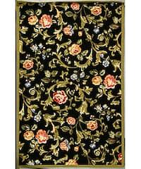 Safavieh Hand-hooked Garden of Eden Black Wool Rug - 5'3 x 8'3