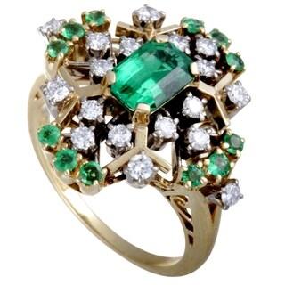 Mikimoto Yellow and White Gold Diamond and Emerald Rhomb Ring
