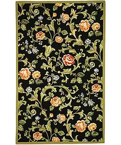 Safavieh Hand-hooked Garden of Eden Black Wool Rug (6' x 9')